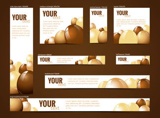 set of  web banners with chocolate motive