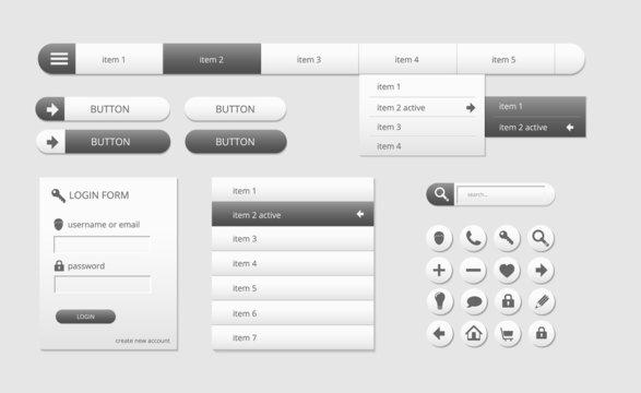 modern black and white web ui elements