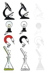 Four scientific icons with variations