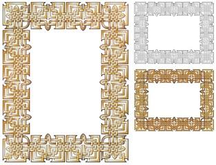 Golden strands woven together for an ornate filigree border.