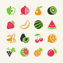 Set of colorful simple icons - fruits and berries