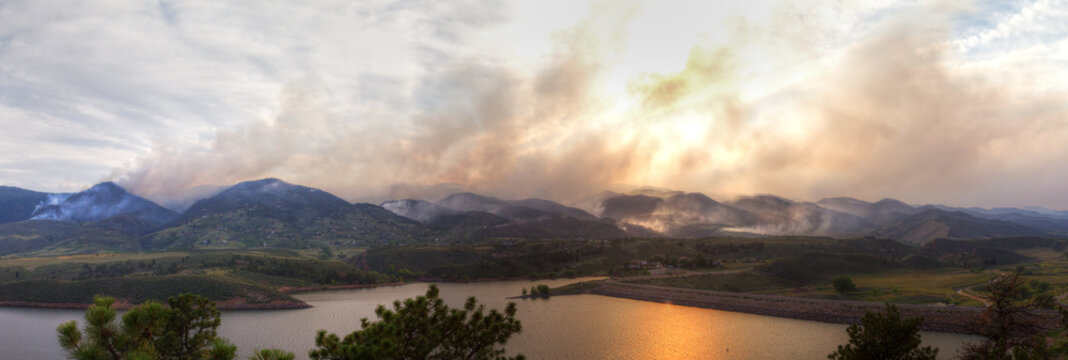Panoramic Wildfire Landscape