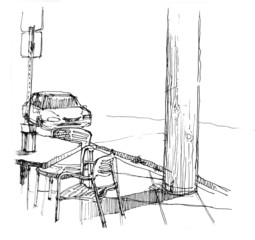 cafe seat next to the street illustration