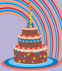 Birthday Cake 50 Years Vector Illustration