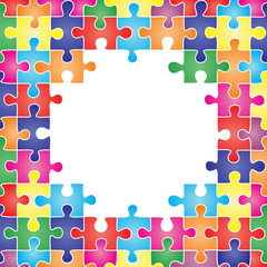 Colored frame made up of pieces puzzle. Vector