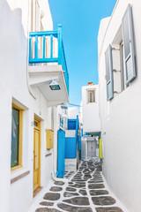 Narrow lane in Mykonos old town