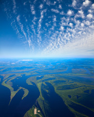 Floodland of great river