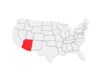 Three-dimensional map of Arizona. USA.