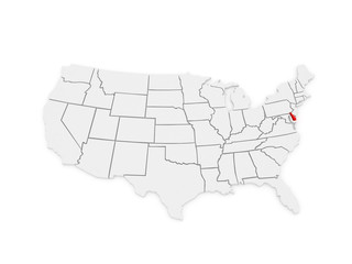 Three-dimensional map of Delaware. USA.