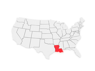 Three-dimensional map of Louisiana. USA.