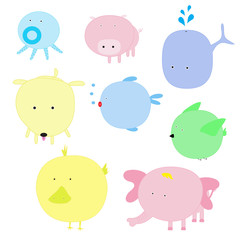 Vector illustration of cute animal set