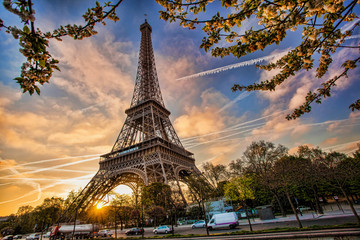 Fototapete - Eiffel Tower against sunrise  in Paris, France