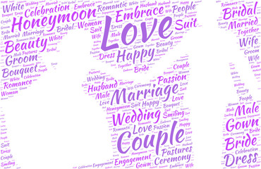 wedding couple silhouette vector tag cloud marriage concept