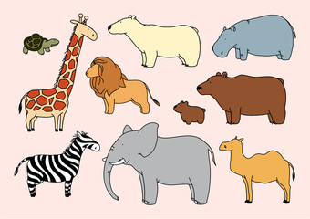 Child's drawing of animals