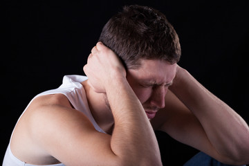 Man feeling strong migraine
