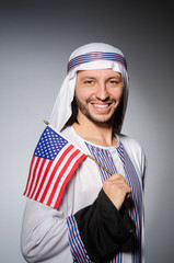 Arab man with united states flag