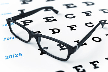 Eye glasses and eye chart.