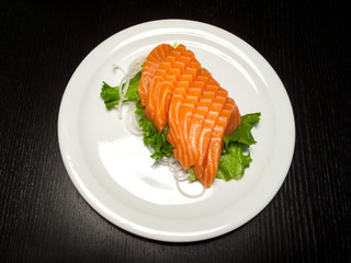 Salmon served in a plate