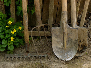 some garden tools near old wooden fence