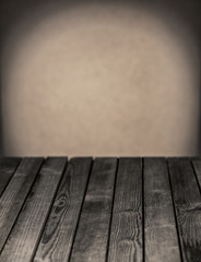 Empty rustic wooden kitchen table