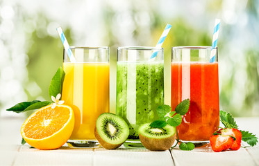 Delicious array of fresh fruit juices