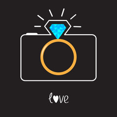 Photo camera and Diamond shining flash. Gold wedding ring lens.