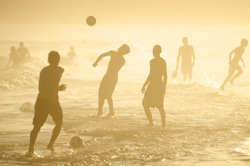 Brazilians Playing Altinho Keepy Uppy Beach Soccer Football
