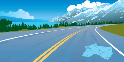 Road landscape crash danger mountains way