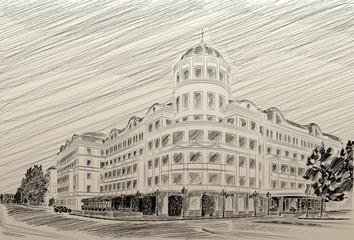 Donetsk Donbass Palace hotel drawing pencil
