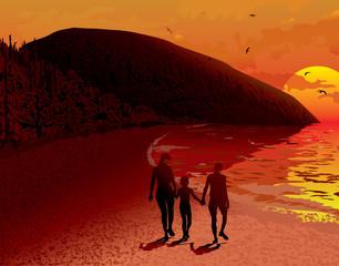 Sea sunrise people landscape family