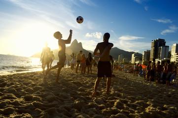 Sunset Silhouettes Playing Altinho Futebol Beach Football Rio