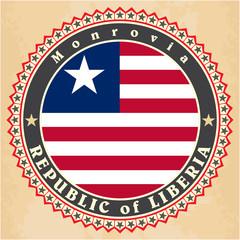Vintage label cards of Liberia flag.