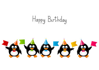 Funny penguins with party flags