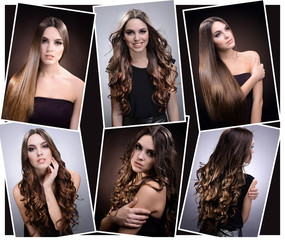 Fashion hairstyle collage. Beautiful girl with natural long