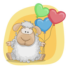 Sheep with balloons
