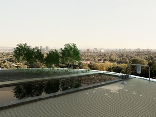 Rooftop infinity pool with cityscape view