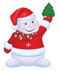 Vector fun snowman holds Christmas tree isolated.