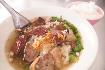Pork blood soup in the bowl