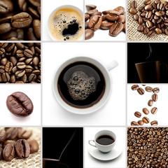 Kaffee bohnen tasse set collage