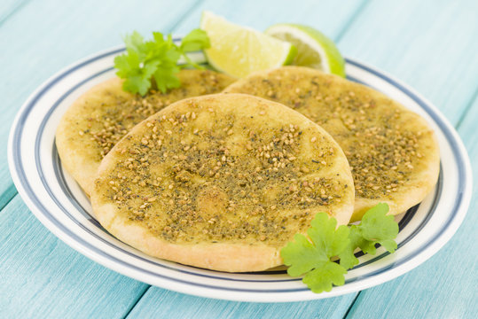 Zaatar Manakish - Flatbread with zaatar and olive oil