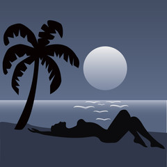 Tropical Palm Beach and Girl