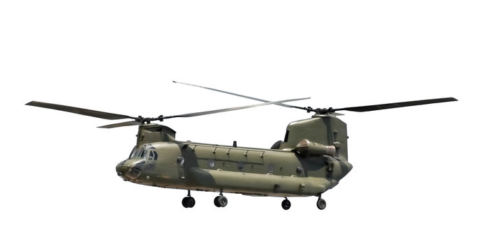 large military helicopter isolated on white