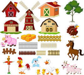 Illustration of the things and animals at the farm