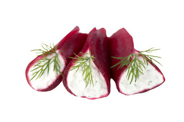 Beet appetizer with spicy a cottage cheese stuffing on a white b