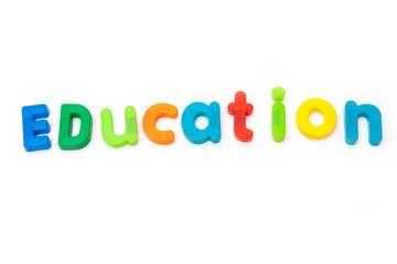 Education written in magnetic letters.