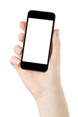Smart phone in hand on white, clipping path