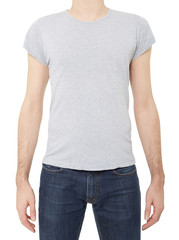 Grey t-shirt on man on white, clipping path