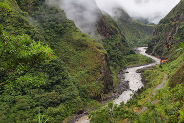 Views of winding Pastaza river and sheer mountains