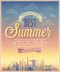 Wall Mural - Summer tours poster. Vector illustration.