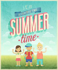 Wall Mural - Summer Adventure poster. Vector illustration.